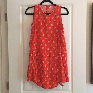 Orange Printed Sleeveless Shift Dress